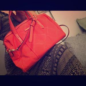 Vera Bradley bright orange microfiber satchel NWOT